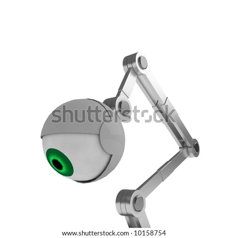 A white robotic eye, side view close-up