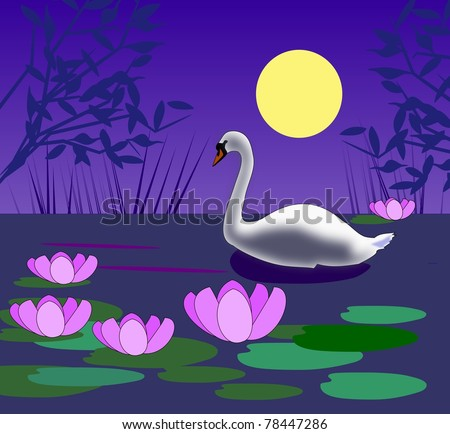 A white swan swimming in a pond with  water lilies in the moonlight.