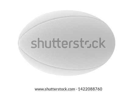 A white textured rugby ball in on a isolated white background - 3D render