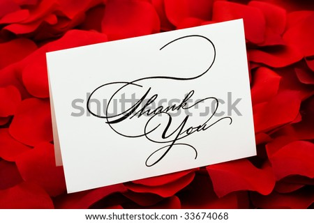 A white thank you card sitting on a red rose petal background, love cakes