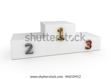 a white victory podium with numbers in gold, silver, bronze - to be used as a template for own designs