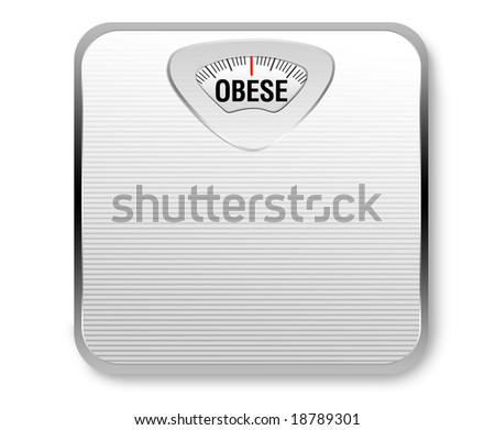"""A white weight scale with the word """"obese"""" for the weight display."""