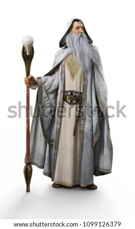 A white wizard with staff on an isolated white background. 3d rendering