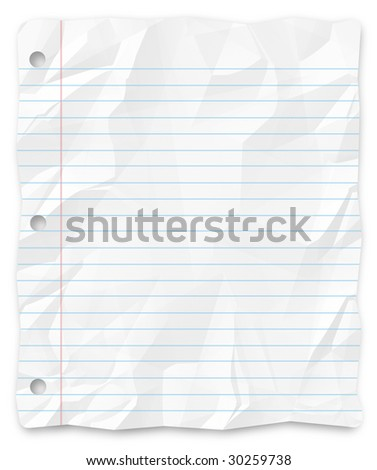 A white, wrinkled piece of lined school paper background for slides, brochures and presentations.