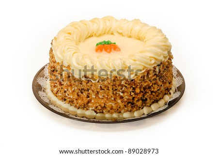 A whole delicious Carrot Cake on white