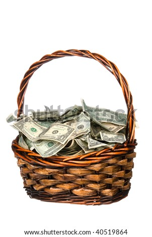 A wicker basket with handle holds a pile of cash.  Good for most financial inferences including investment, retirement, savings, wealth and the economy to name a few.