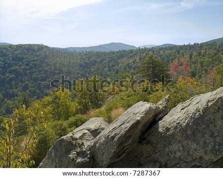 A wide angle scenic view of the mountains along Skyline Drive in Shenandoah National park in West Virginia.