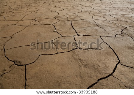 A wide angle shot of dry cracked earth.