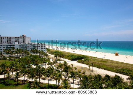 A wide landscape view of South Beach in Miami Florida - stock photo