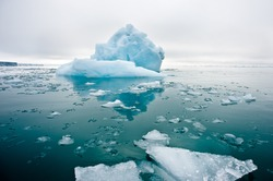 A wide low angle view of melting sea ice floes in still waters of Northern Arctic with iceberg and glacial wall in background.Climate Crisis and Breakdown.Climate emergency