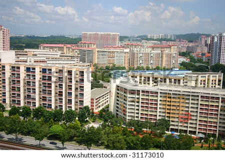 A wide shot of a Singapore housing estate.