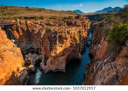 A wide shot of Bourke's Luck Potholes in Mpumalanga, South Africa; a geological formation carved out by the movement of water