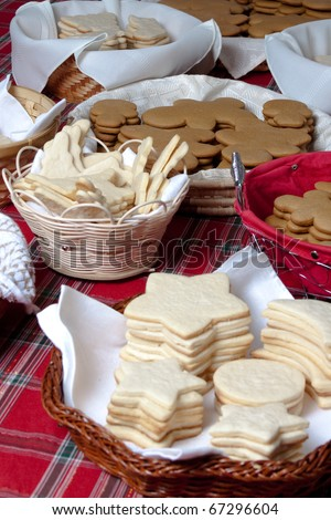 A wide variety of Christmas cookies waiting to be decorated