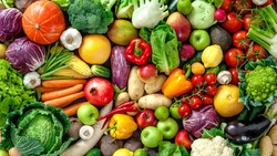 A wide variety of colorful fresh fruit and vegetables
