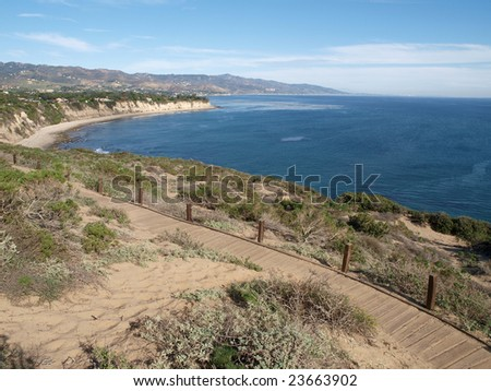 A wide view of the Malibu Pacific coast.