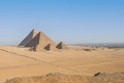A wideangle view of the Pyramids, Giza, Cairo, Egypt.