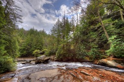 A wild river in Swallow Falls in the Appalachian mountains of Maryland during Autumn