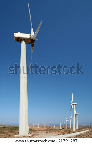 A wind farm in Lasithi province, Crete. Wind turbines supply a large part of the electrical power needed for tourism during the summer months.