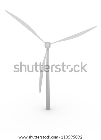 A wind mill in white. Sustainable energy generator