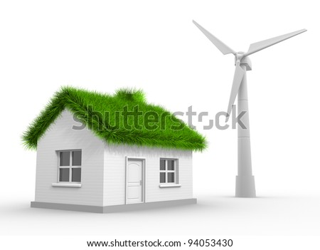 A wind turbine and a house with a grass roof. Concept of ecology. 3d render