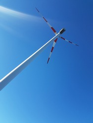 a wind turbine photographed from below