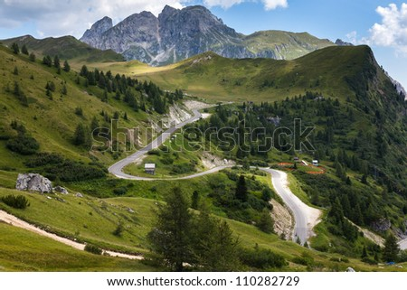 a winding mountain road - Dolomites