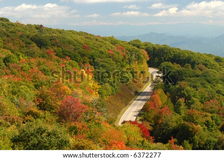 A winding mountain road in Tennessee during the autumn