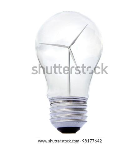 a windmill inside a lightbulb, energy concervation concept