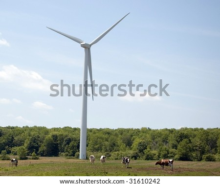 A windmill on a farmers pasture with cows.