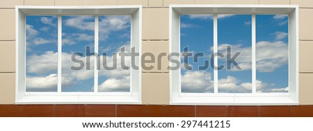 a window in the house, the sky clouds in a glass #297441215