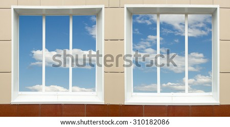 a window in the house, the sky clouds in a glass #310182086