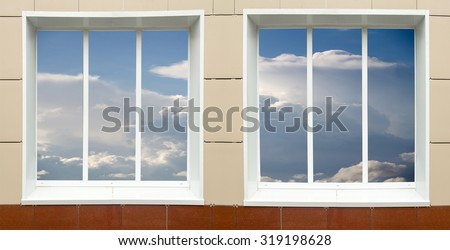 a window in the house, the sky clouds in a glass #319198628