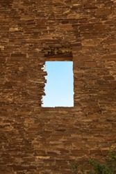 A window opening built into an ancient rock wall at the Anasazi site in Chaco Canyon, New Mexico.