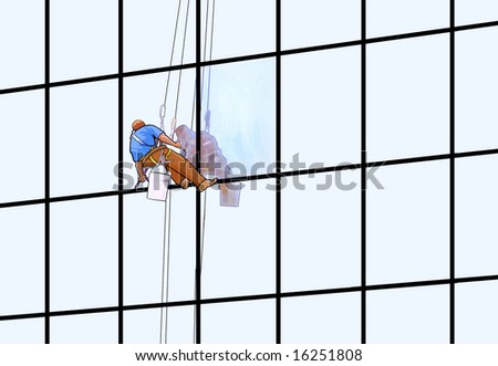 A window washer on a skyscraper