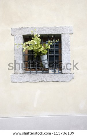 A window with flowers decoration