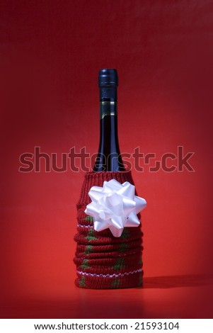 A wine bottle wraped for present