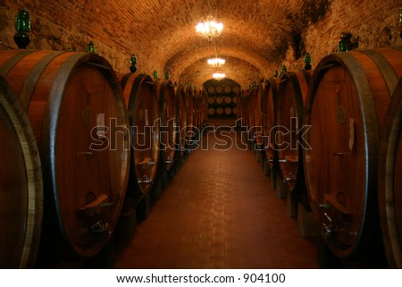 A wine cellar full of barrels of wine