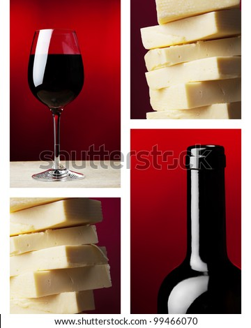 a wine glass with red wine and dark wine bottle  and yellow caw cheese