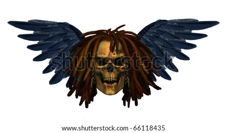 A winged skull with dreadlocks and pointy teeth - 3D render with digital painting.
