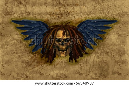 A winged skull with dreadlocks on grunge background - 3D render with digital painting.