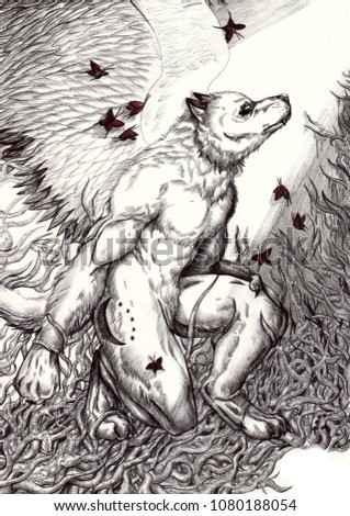 Stock Photo A winged werewolf kneeling surrounded by light and red butterflies