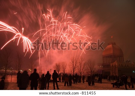 A winter fireworks display in the Old Port of Montreal - some noise at full size