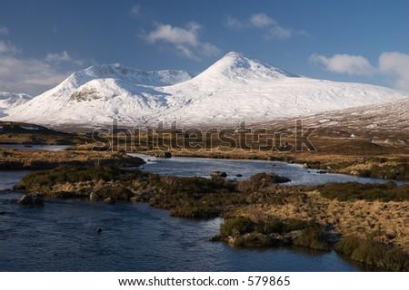 A winter landscape on Rannoch Moor in the Scottish Highlands.
