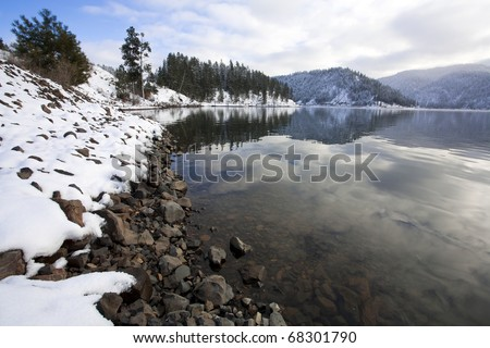 A winter scenic at Higgens Point on Lake Coeur d'Alene in norther Idaho.