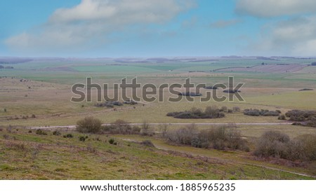 a winter scenic view NNE towards Collingbourne Ducis from Sidbury Hill, Wiltshire Stock fotó ©