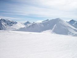A winterlandscape high in the Alps