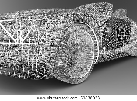 A wire frame car isolated in a studio
