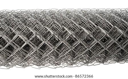 a wire mesh Rabitz, rolled, closeup shot