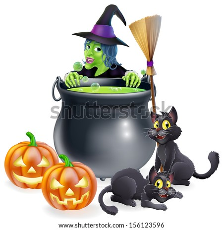 A witch Halloween scene with green witch peeking over a cauldron with broomstick, pumpkins and cats