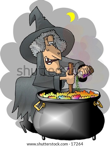 A witch in traditional Halloween attire cooking up a brew in a cauldron.